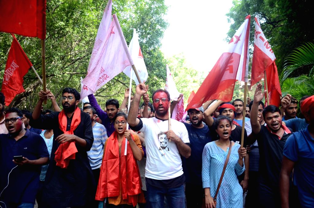 United Left supporters take out a victory march as they celebrate after the alliance won all the four top posts in the Jawaharlal Nehru University Students Union (JNUSU), leaving the ABVP ...