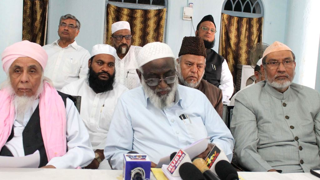 United Muslim Action Committee convenor Moulana Abdul Raheem Qureshi during a press conference in Hyderabad on April 22, 2014.
