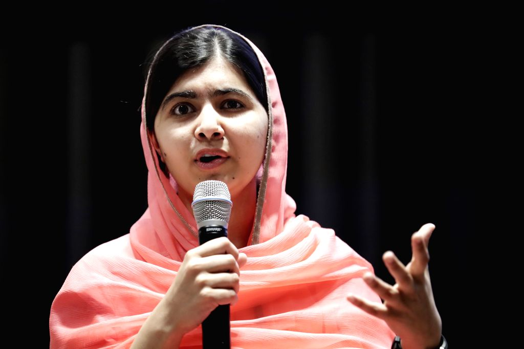 UNITED NATIONS, April 10, 2017 (Xinhua) -- Malala Yousafzai is seen during her designation ceremony as the UN Messenger of Peace with a special focus on girls' education at the UN headquarters in New York, on April 10, 2017. UN Secretary-General Anto