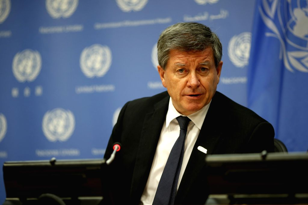 UNITED NATIONS, April 10, 2019 - Guy Ryder, Director-General of the International Labour Organization (ILO), briefs the journalists on the high-level meeting to commemorate the 100th anniversary of ...