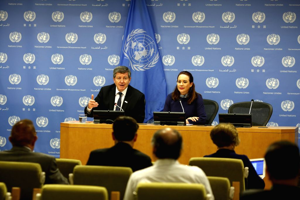 UNITED NATIONS, April 10, 2019 - Guy Ryder (L), Director-General of the International Labour Organization (ILO), speaks to journalists with United Nations General Assembly (UNGA) President Maria ...