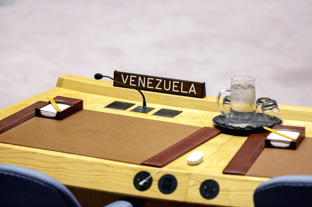 UNITED NATIONS, April 10, 2019 - The nameplate of Venezuela is pictured prior to a United Nations Security Council meeting on the situation in Venezuela, at the UN headquarters in New York, on April ...