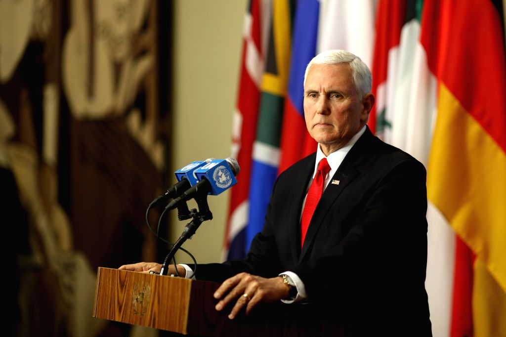 UNITED NATIONS, April 10, 2019 - U.S. Vice President Mike Pence attends a press encounter after he addressed a UN Security Council meeting on the situation in Venezuela at the United Nations ...