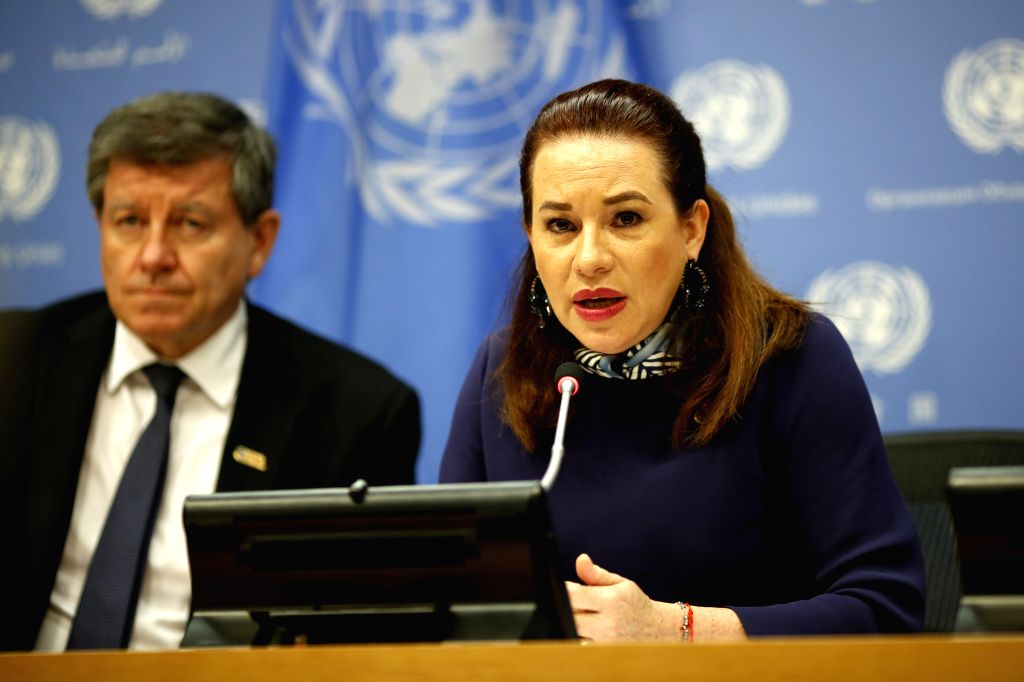 UNITED NATIONS, April 10, 2019 - United Nations General Assembly (UNGA) President Maria Fernanda Espinosa Garces (R) speaks to journalists during a briefing on the high-level meeting to commemorate ...
