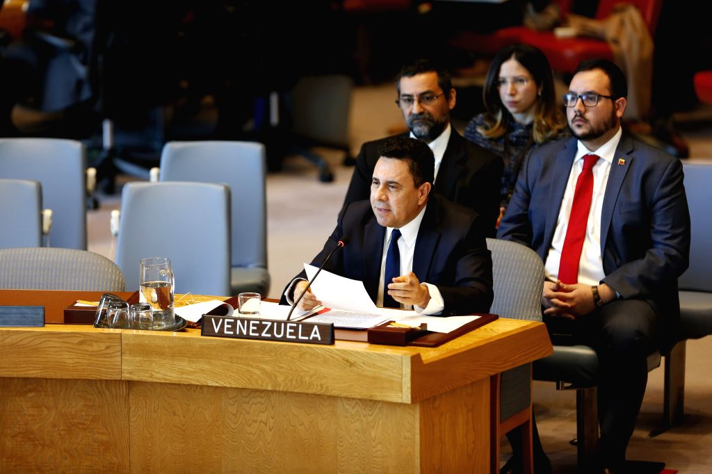 UNITED NATIONS, April 10, 2019 - Venezuelan Permanent Representative to the United Nations Samuel Moncada (Front) addresses a UN Security Council on the situation in Venezuela, at the UN headquarters ...