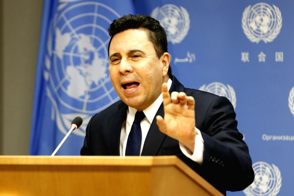 UNITED NATIONS, April 10, 2019 - Venezuelan Permanent Representative to the United Nations Samuel Moncada speaks to journalists during a press briefing after a Security Council meeting on the ...