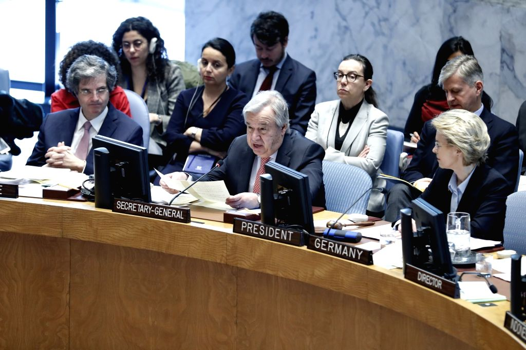 UNITED NATIONS, April 11, 2019 - United Nations Secretary-General Antonio Guterres (C, Front) addresses a Security Council open debate on women in peacekeeping at the UN headquarters in New York, on ...