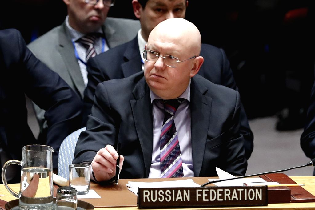 UNITED NATIONS, April 12, 2018 - Photo taken on April 10, 2018 shows Russian Ambassador to the United Nations Vassily Nebenzia attending a Security Council meeting on Syria at the UN headquarters in ...