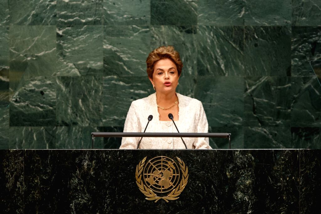 UNITED NATIONS, April 22, 2016 - Brazilian President Dilma Rousseff addresses the opening ceremony of Paris climate deal at the United Nations headquarters in New York, April 22, 2016.