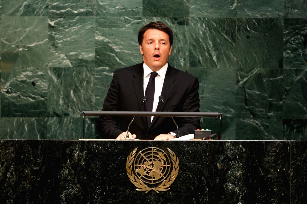 UNITED NATIONS, April 22, 2016 - Italian Prime Minister Matteo Renzi addresses the opening ceremony of Paris climate deal at the United Nations headquarters in New York, April 22, 2016. - Matteo Renzi