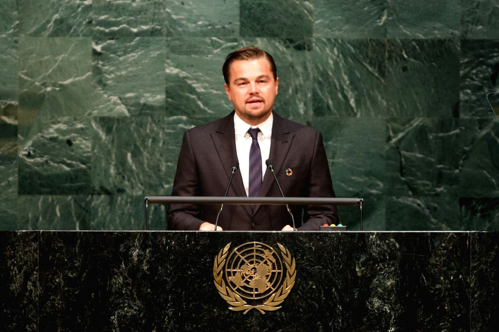 UNITED NATIONS, April 22, 2016 - Leonardo DiCaprio, actor and UN messenger of peace, addresses the opening ceremony of Paris climate deal at the United Nations headquarters in New York, April 22, ...