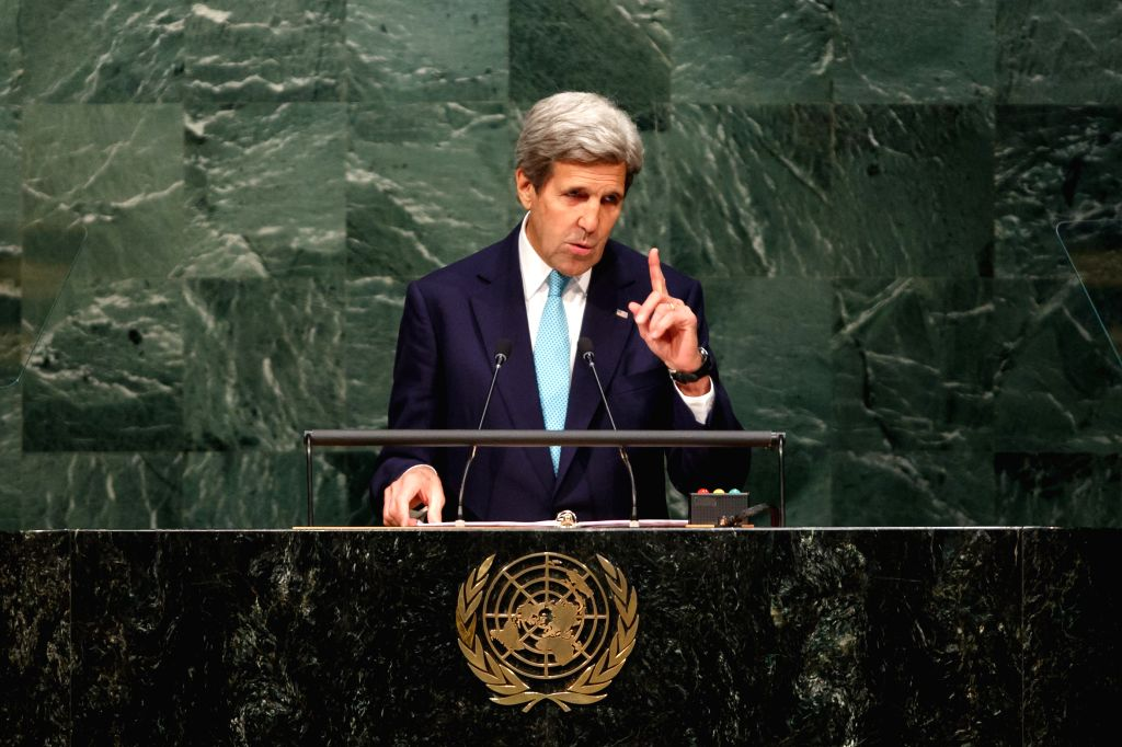 UNITED NATIONS, April 22, 2016 - United States Secretary of State John Kerry addresses the opening ceremony of Paris climate deal at the United Nations headquarters in New York, April 22, 2016.