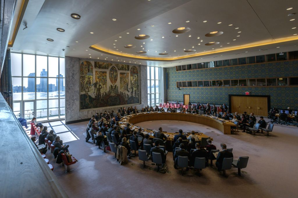 UNITED NATIONS, April 3, 2019 (Xinhua) -- The United Nations Security Council meeting on the situation in Haiti is held in the Security Council chamber, with drapes pulled open, at the UN headquarters in New York, on April 3, 2019. UN Security Counci