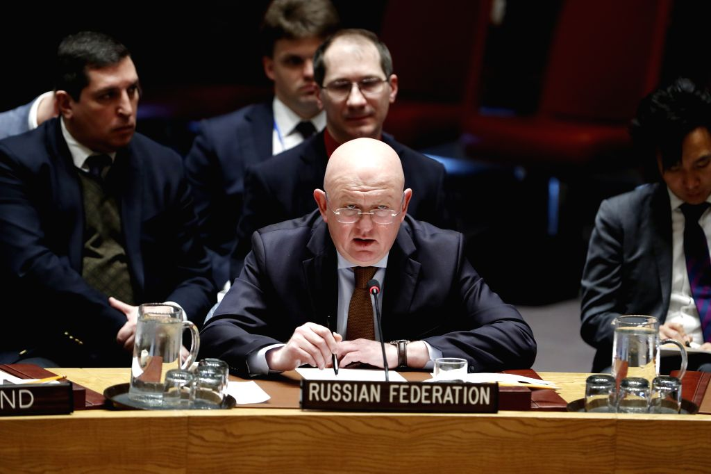 UNITED NATIONS, April 4, 2018 - Russian Ambassador to the United Nations Vassily Nebenzia (Front) addresses a UN Security Council meeting on the situation in Syria at the UN headquarters in New York, ...