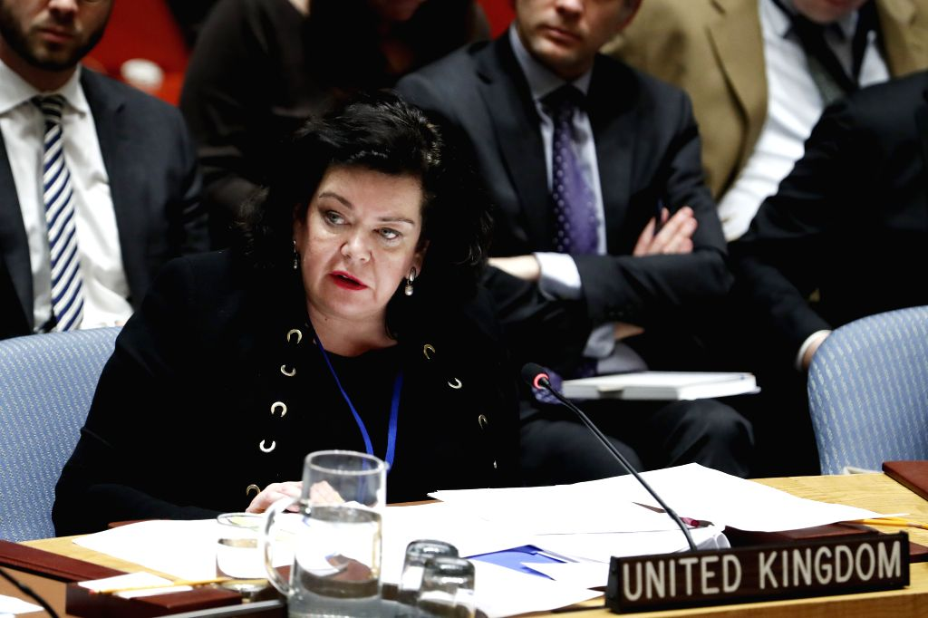 UNITED NATIONS, April 6, 2018 - British Ambassador to the United Nations Karen Pierce addresses a Security Council meeting on the poisoning of former Russian double agent Sergei Skripal and his ...