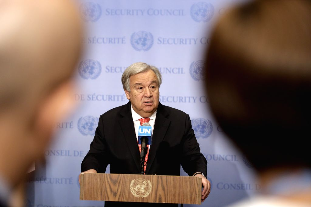 UNITED NATIONS, Aug. 1, 2019 - United Nations Secretary-General Antonio Guterres speaks to journalists during a press encounter at the UN headquarters in New York, on Aug. 1, 2019. Antonio Guterres ...