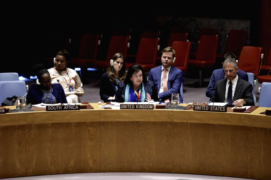UNITED NATIONS, Aug. 10, 2019 - British Ambassador to the United Nations Karen Pierce (C,front) addresses a Security Council emergency meeting on the situation in Libya at the UN headquarters in New ...