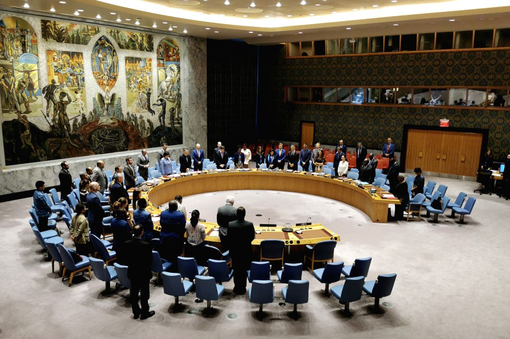 UNITED NATIONS, Aug. 10, 2019 - The United Nations Security Council observes a minute of silence to the three UN staff members killed in the Benghazi car bomb attack at the UN headquarters in New ...