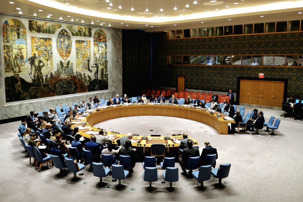 UNITED NATIONS, Aug. 10, 2019 (Xinhua) -- Photo taken on Aug. 10, 2019 shows United Nations Security Council holding an emergency meeting on the situation in Libya at the UN headquarters in New York. United Nations Security Council on Saturday strong
