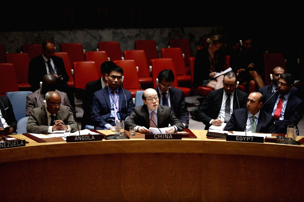 UNITED NATIONS, Aug. 12, 2016 - Liu Jieyi(C Front), China's permanent representative to the United Nations, speaks during an UN Security Council meeting on Sudan and South Sudan at the UN ...
