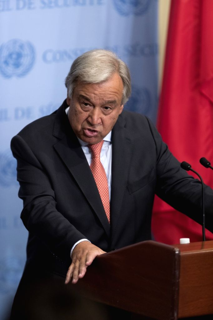 UNITED NATIONS, Aug. 16, 2017 - United Nations Secretary-General Antonio Guterres speaks to the press during a media encounter at the UN headquarters in New York, Aug. 16, 2017. UN Secretary-General ...