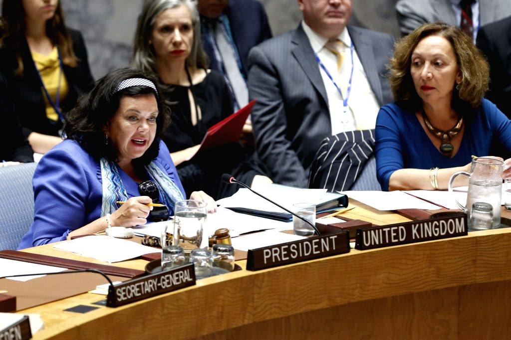 UNITED NATIONS, Aug. 2, 2018 - British Ambassador to the United Nations Karen Pierce (L front), whose country holds the Security Council presidency for the month of August, chairs the Security ...