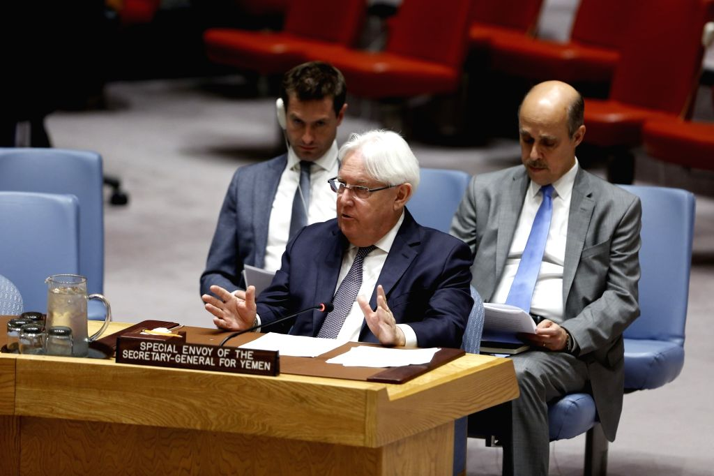 UNITED NATIONS, Aug. 2, 2018 - Martin Griffiths (Front), the UN special envoy for Yemen, briefs the UN Security Council meeting on the situation in Yemen at the UN headquarters in New York, Aug. 2, ...