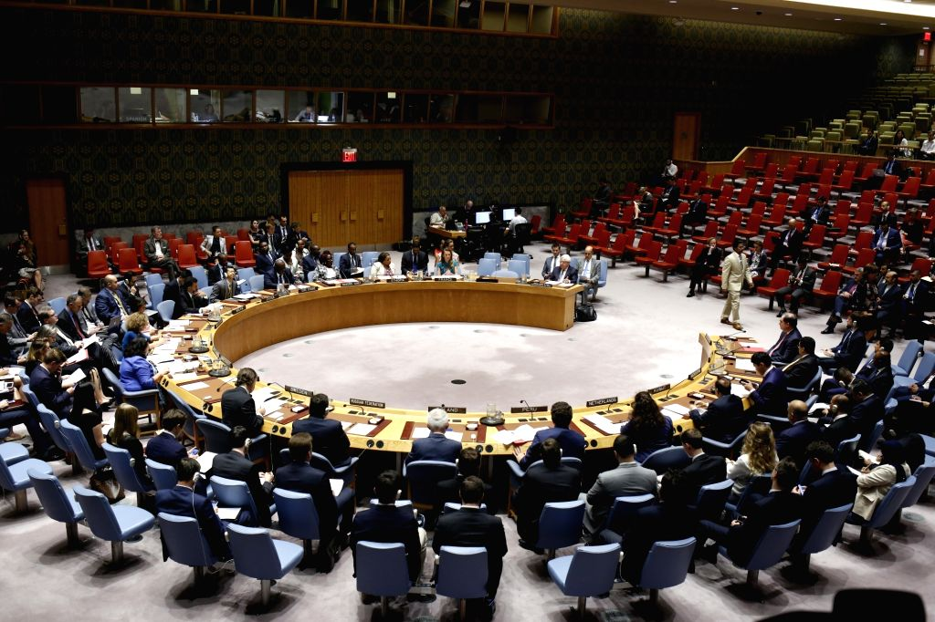 UNITED NATIONS, Aug. 2, 2018 - Photo taken on Aug. 2, 2018 shows a general view of the UN Security Council meeting on the situation in Yemen at the UN headquarters in New York. The UN special envoy ...