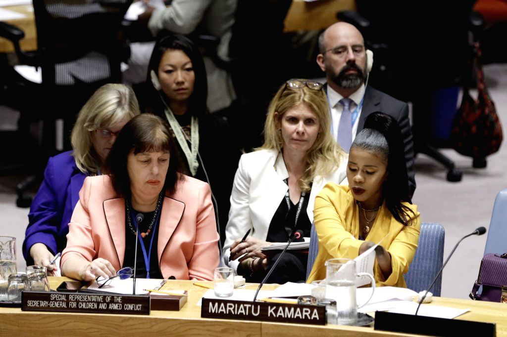 UNITED NATIONS, Aug. 2, 2019 - Mariatu Kamara (R, front), United Nations Children's Fund (UNICEF) Canada's Special Representative for Children in Armed Conflict, addresses a Security Council meeting ...