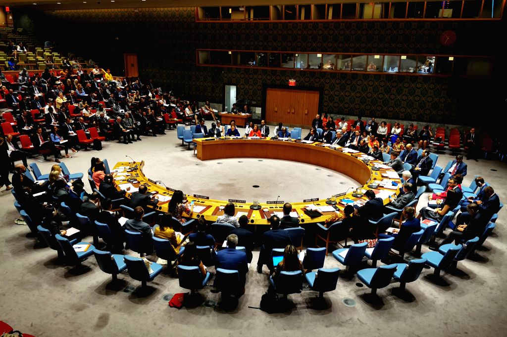 UNITED NATIONS, Aug. 2, 2019 - Photo taken on Aug. 2, 2019 shows the United Nations Security Council holding a meeting on children and armed conflict, at the UN headquarters in New York.