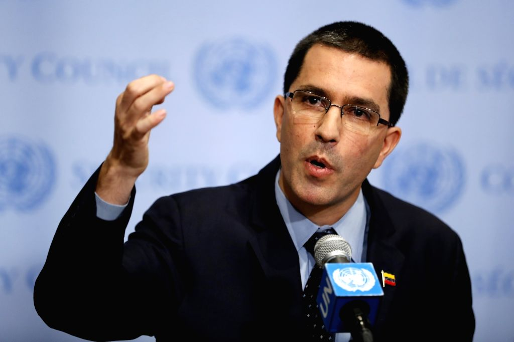 UNITED NATIONS, Aug. 25, 2017 (Xinhua) -- Venezuela's Foreign Minister Jorge Arreaza addresses a press encounter at the United Nations headquarters in New York, on Aug. 25, 2017. New U.S. economic sanctions imposed on Venezuela on Friday as well as U - Jorge Arreaza