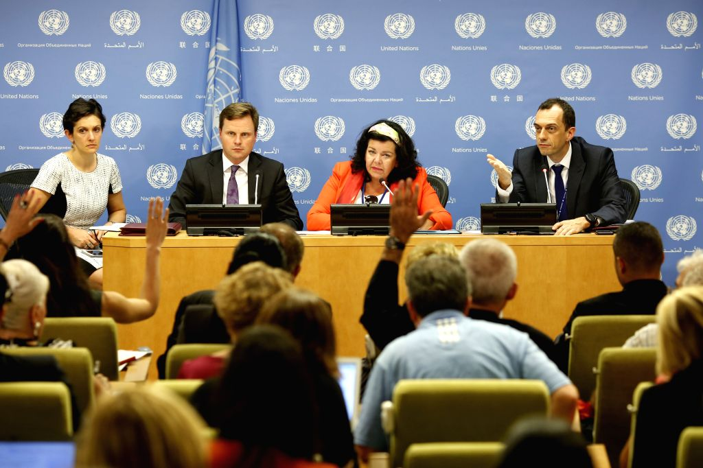 UNITED NATIONS, Aug. 3, 2018 - British ambassador to the United Nations Karen Pierce (2nd R), whose country holds the Security Council presidency for the month of August, briefs journalists on the ...