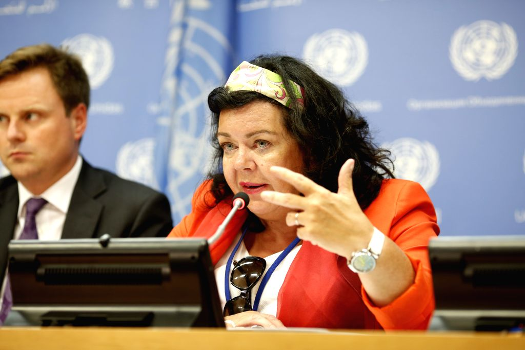 UNITED NATIONS, Aug. 3, 2018 - British ambassador to the United Nations Karen Pierce, whose country holds the Security Council presidency for the month of August, briefs journalists on the Council's ...