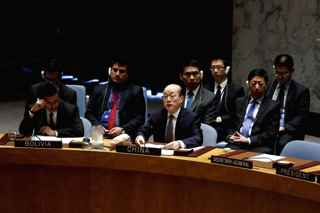 UNITED NATIONS, Aug. 6, 2017 - Liu Jieyi(C), China's Permanent Representative to the United Nations, addresses after the UN Security Council adopted a resolution that aims to slash by a third the ...