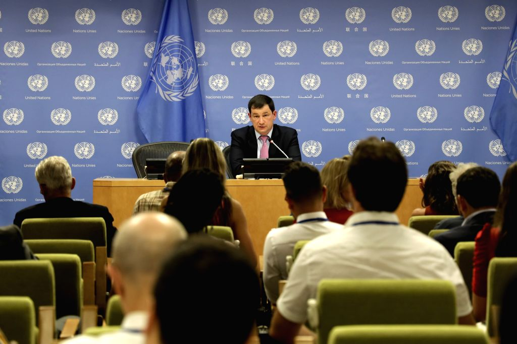 UNITED NATIONS, Aug. 8, 2019 - Russia's Deputy Permanent Representative to the United Nations Dmitry Polyanskiy speaks to journalists about Russia's Collective Security Concept for the Persian Gulf ...