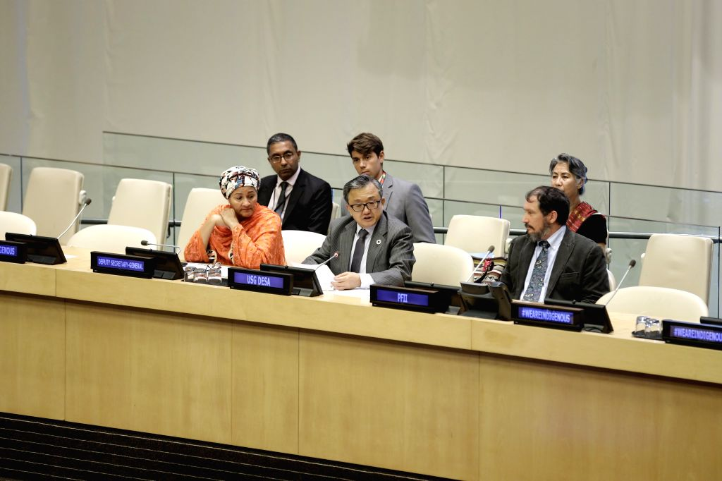 UNITED NATIONS, Aug. 9, 2019 - Liu Zhenmin (C, front), United Nations Under-Secretary-General for Economic and Social Affairs, addresses an event commemorating the International Day of the World's ...