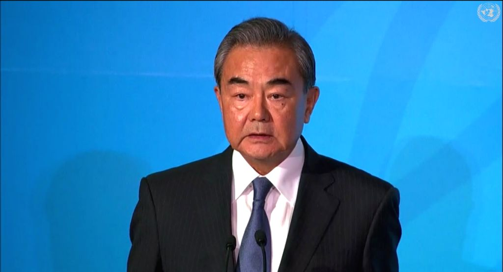 United Nations: Chinese Foreign Minister Wang Yi addresses at the Climate Action Summit 2019 during the 74th session of the UN General Assembly (UNGA 74) at United Nations on Sep 23, 2019. (Photo: IANS/United Nations) - Wang Y