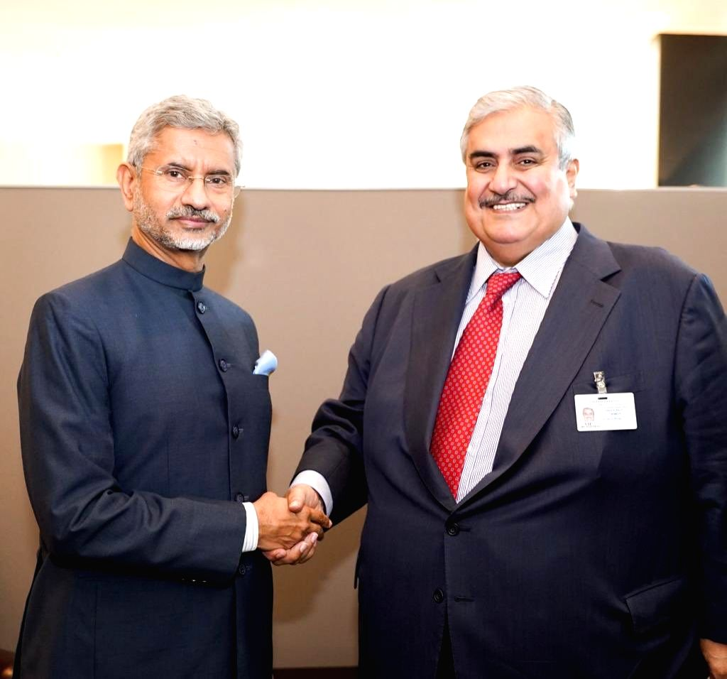 United Nations: External Affairs Minister S Jaishankar meets Bahrain's Foreign Minister Sheikh Khalid bin Ahmed Al Khalifa on the sidelines of UNGA74 at United Nations on Sep 28, 2019. - S Jaishankar and Khalid