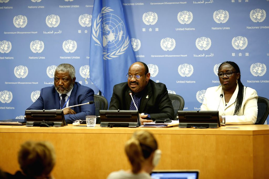 UNITED NATIONS, Feb. 1, 2019 - Anatolio Ndong Mba (C, Rear), Permanent Representative of Equatorial Guinea to the United Nations and President of the Security Council for February, briefs the press ...