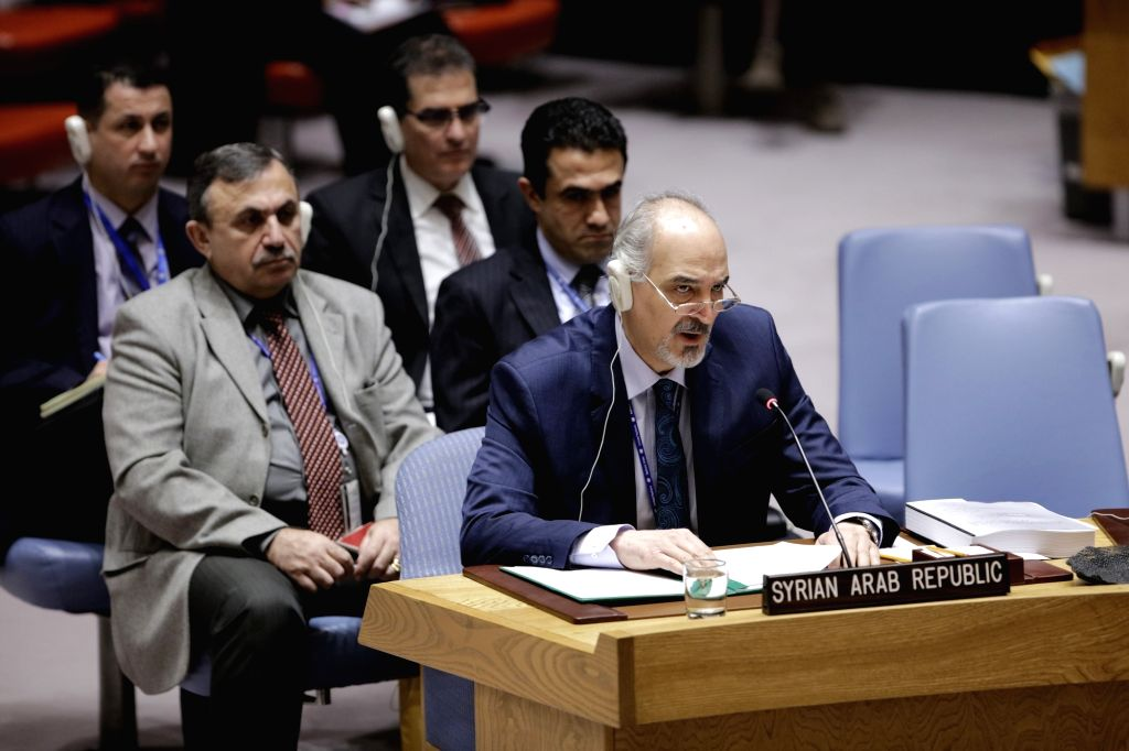 UNITED NATIONS, Feb. 14, 2018 - Syrian Ambassador to the United Nations Bashar Ja'afari (Front) addresses a UN Security Council meeting on Syria at the UN headquarters in New York, on Feb. 14, 2018. ...