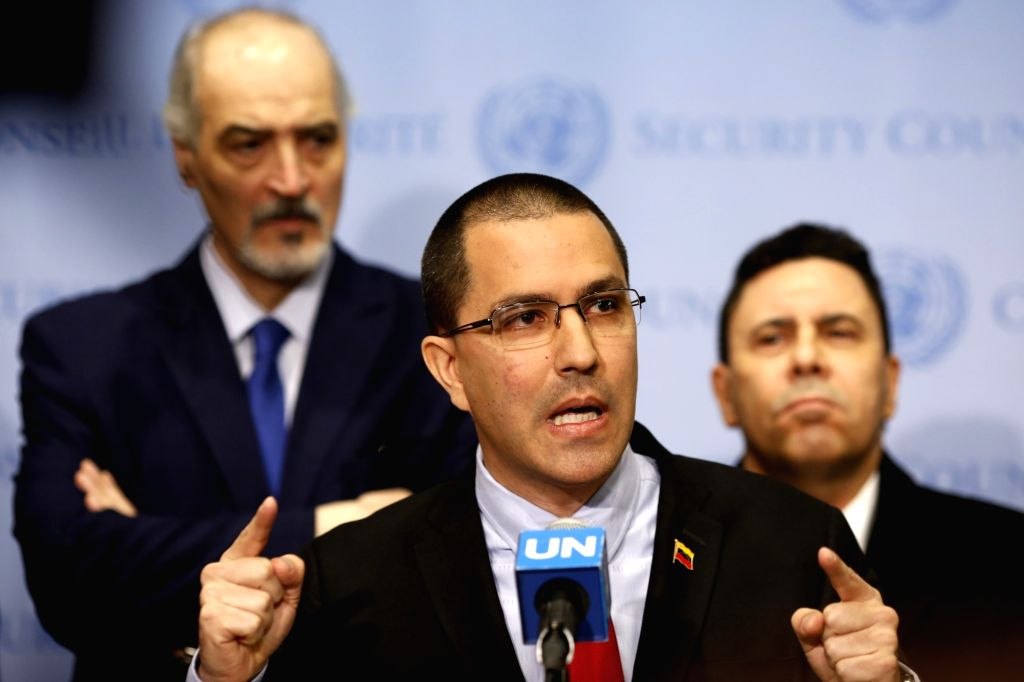 UNITED NATIONS, Feb. 14, 2019 - Venezuelan Foreign Minister Jorge Arreaza (Front) speaks to reporters at the United Nations headquarters in New York, on Feb. 14, 2019. Venezuela is trying to gather ... - Jorge Arreaza