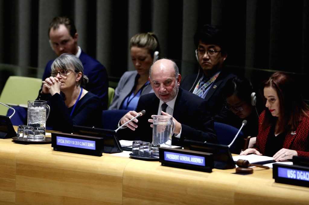 UNITED NATIONS, Feb. 15, 2019 - Luis Alfonso de Alba (C, front), the United Nations secretary-general's special envoy for the 2019 Climate Summit, speaks at a joint briefing at the UN headquarters in ...