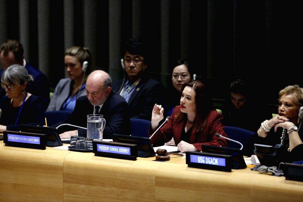 UNITED NATIONS, Feb. 15, 2019 - United Nations General Assembly (UNGA) President Maria Fernanda Espinosa Garces (2nd R, front) speaks during a joint briefing together with Luis Alfonso de Alba, the ...
