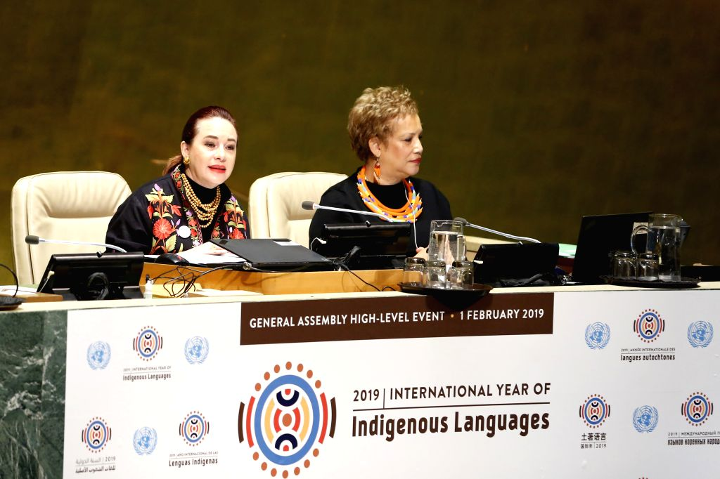 UNITED NATIONS, Feb. 2, 2019 - Maria Fernanda Espinosa Garces (L), the 73rd United Nations General Assembly (UNGA) President, addresses the launch ceremony of the International Year of Indigenous ...
