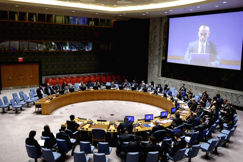UNITED NATIONS, Feb. 20, 2019 - Photo taken on Feb. 20, 2019 shows a meeting of the United Nations Security Council on the situation in the Middle East, at the UN headquarters in New York. The ...
