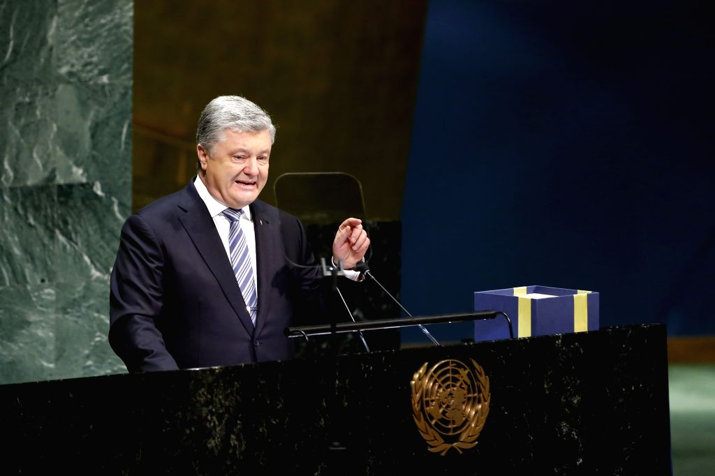 UNITED NATIONS, Feb. 21, 2019 - Ukrainian President Petro Poroshenko addresses the UN General Assembly meeting at the UN headquarters in New York, Feb. 20, 2019. At a UN General Assembly meeting held ...