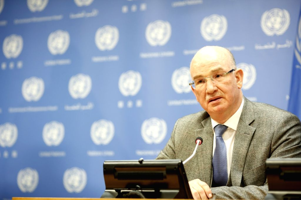 UNITED NATIONS, Feb. 22, 2019 - Smail Chergui, African Union Commissioner for Peace and Security, speaks during a press briefing at the UN headquarters in New York, on Feb. 22, 2019. Jean-Pierre ...