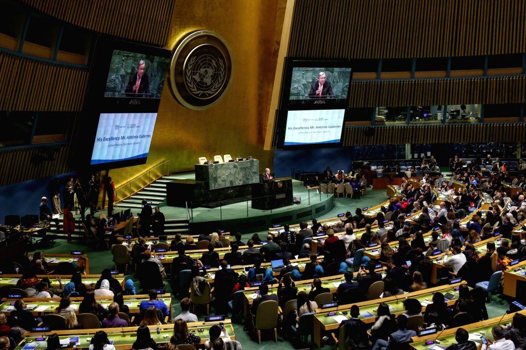 UNITED NATIONS, Feb. 22, 2019 - United Nations Secretary-General Antonio Guterres (C, Rear) addresses the opening of the United Nations Association of the United States of America (UNA-USA) 2019 ...