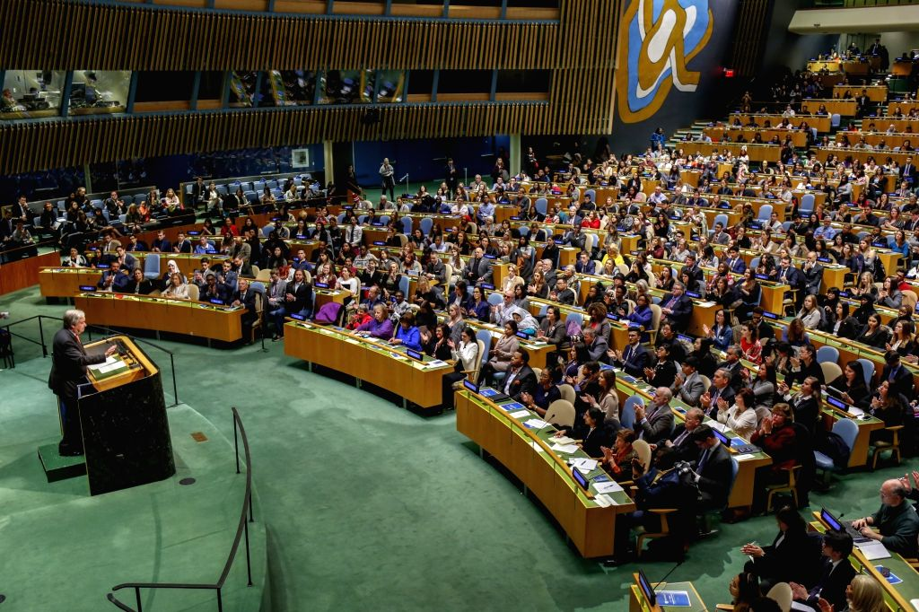 UNITED NATIONS, Feb. 22, 2019 - United Nations Secretary-General Antonio Guterres (1st L, Front) addresses the opening of the United Nations Association of the United States of America (UNA-USA) 2019 ...
