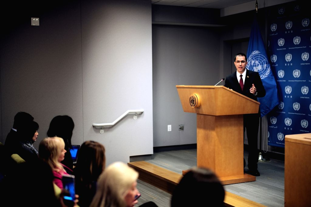 UNITED NATIONS, Feb. 23, 2019 - Venezuelan Foreign Minister Jorge Arreaza (R) attends a press conference at the United Nations headquarters in New York, Feb. 22, 2019. Venezuelan Foreign Minister ... - Jorge Arreaza